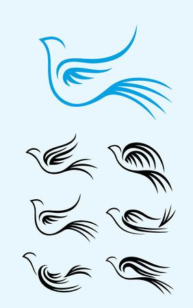 peace dove: Flying Dove set, art vector design Illustration