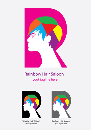 hair saloon: Rainbow hair saloon, art vector design Illustration