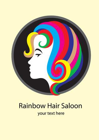 hair saloon: Rainbow hair saloon #2, art vector design