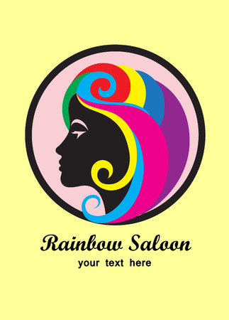 Rainbow hair saloon, art vector illustration Vector