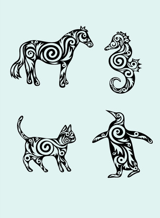 Animal set,horse,sea horse,cat and penguin ornament Vector