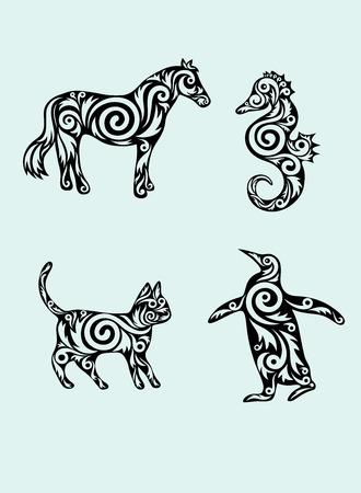 Animal set,horse,sea horse,cat and penguin ornament Vector