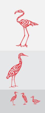 egret: Bird icon set, heron,egret,flamingo and duck, art vector decoration