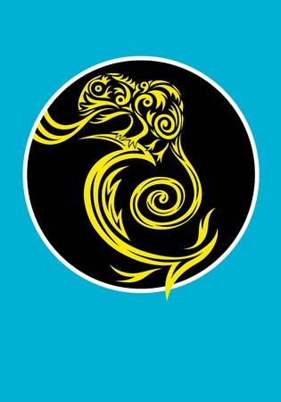 chameleon lizard: Lizard logo, decorazione grafica vettoriale