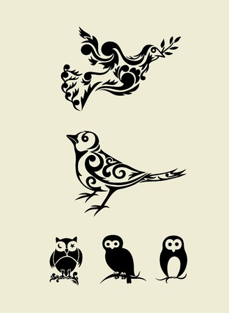 Bird set ornament, art vector decoration Vector
