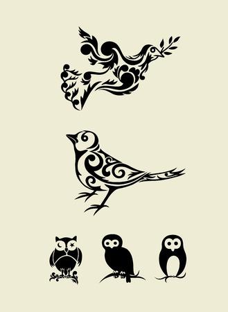 Bird set ornament, art vector decoration Vector
