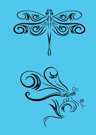Dragonfly ornament, art vector decoration Vector
