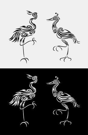 egret: Heron egret bird, art vector floral design