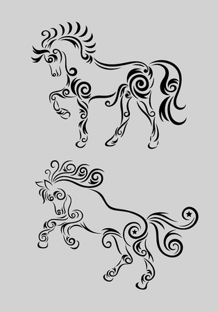 Horse set ornament, art vector decoration Vector