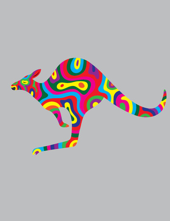 Kangaroo abstract color, art vector illustration Vector
