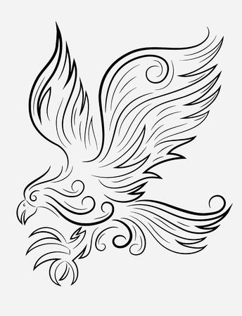 Eagle flying, art vector outline Illustration