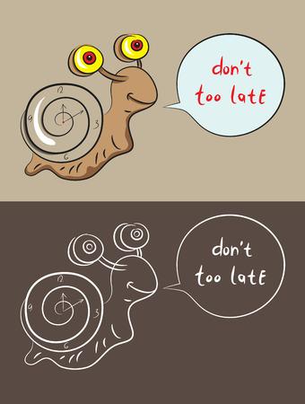 dna smile: Snail cartoo, art vector illustration
