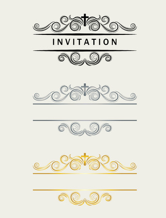cross: Christian header floral frame, art vector design Illustration