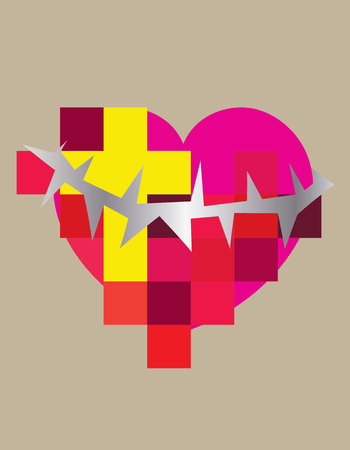 Heart love with cross and spine, contemporary art vector design Vector