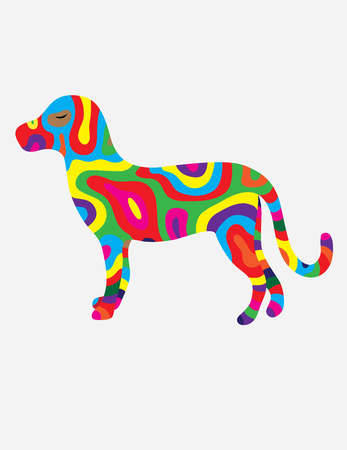 colorfully: Dog abstract colorfully, art vector illustration