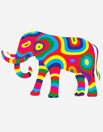 colorfully: Elephant abstract colorfully, art vector illustration Illustration