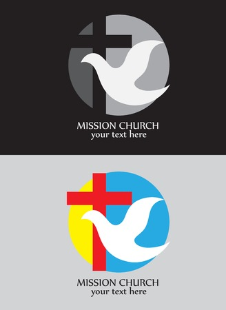 doves: Christian icon, Mission church logo, art vector design