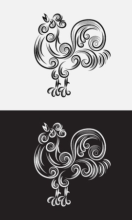 Rooster outline, art vector sketch floral decoration Vector