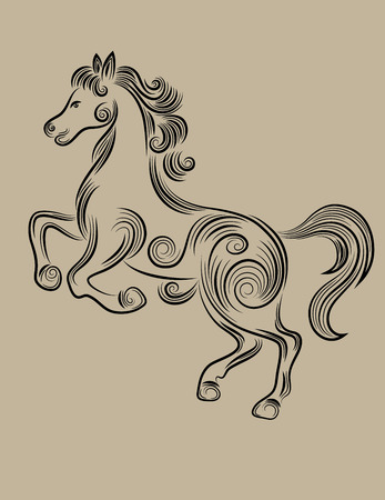 Horse standing outline, art vector sketch floral decoration Vector