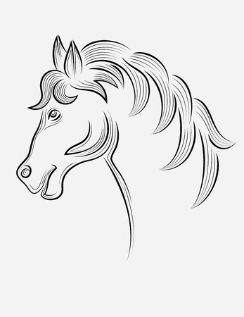 Horse head outline, art vector sketch decoration Vector