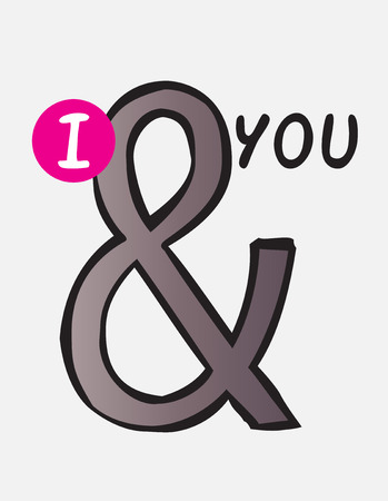 I and you, ampersand hand drawn doodle vector Vector