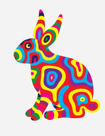 colorfully: Rabbit abstract colorfully, art vector illustration Illustration