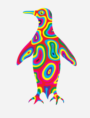 Penguin abstract colorfully, art vector illustration 일러스트
