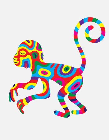 monkey silhouette: Monkey abstract colorfully