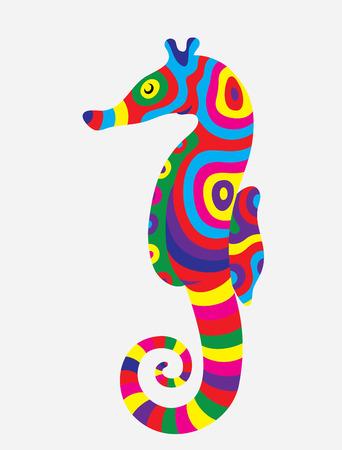caballo de mar: Caballo de mar colorido abstracto Vectores