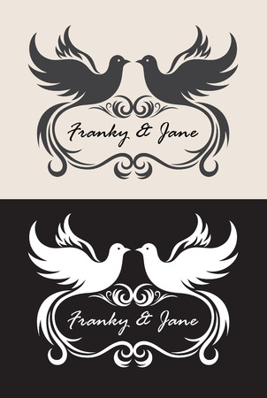 doves: Label name wedding invitation, art vector design