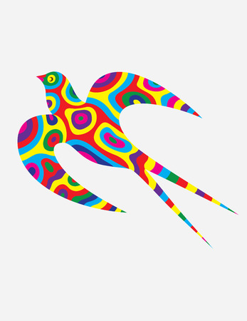 colorfully: Swallow bird abstract colorfully, art vector illustration Illustration