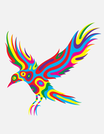 colorfully: Bird flying abstract colorfully, art vector illustration Illustration