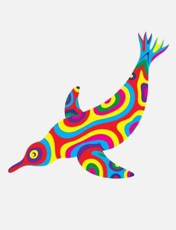 Penguin abstract colorfully, art vector illustration Vectores