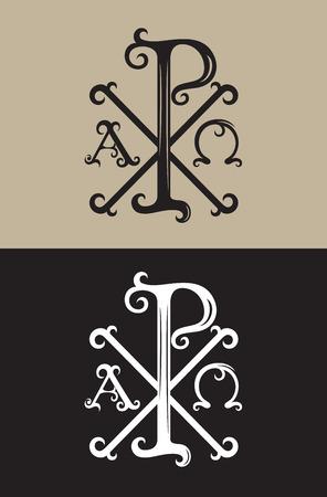 PX alpha and omega, art vector font sign symbol design Illustration