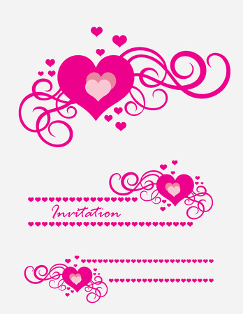 pink flower: Heart love ornament, art vector decoration Illustration