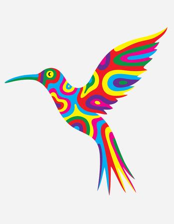 カラフルな抽象的な鳥のハミング、アートのベクトル図