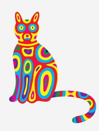 colorfully: Cat abstract colorfully, art vector illustration