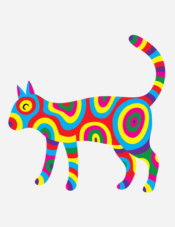 colorfully: Cat abstract colorfully,art vector design