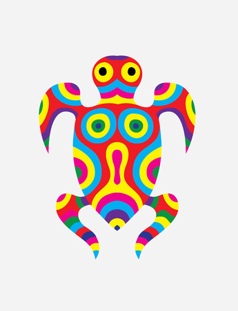 colorfully: Turtle abstract colorfully, art vector illustration Illustration