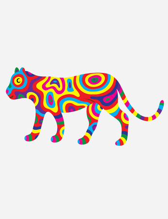 colorfully: Tiger abstract colorfully, art vector illustration