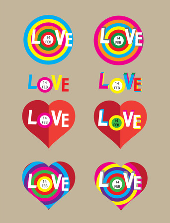 colorfully: Love heart, art vector design