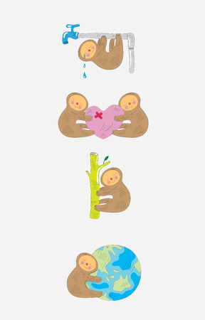 Panda cartoon set, art vector humor critic illustration Vector
