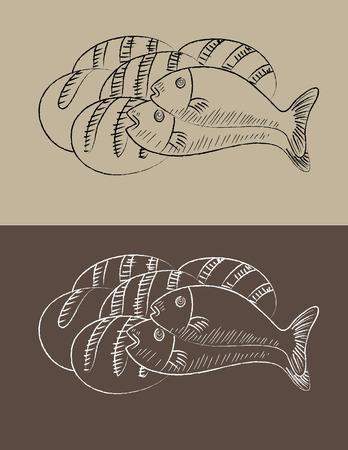二匹の魚や 3 パン、アート ベクトル スケッチ図