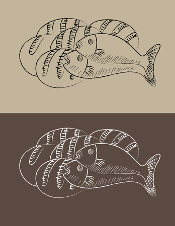Two fish and three bread, art vector sketch illustration