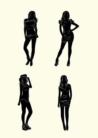 Vrouw die zich silhouet set, art vector ontwerp