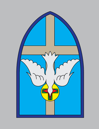 church window: Dove Holy spirit with cross church window, art vector design Illustration