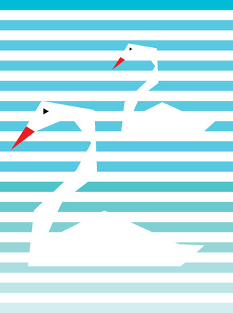 swan lake: Swan couple, art vector design