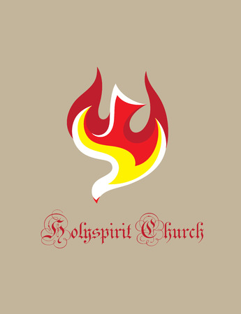 Dove Fire Holy spirit icon, art vector design