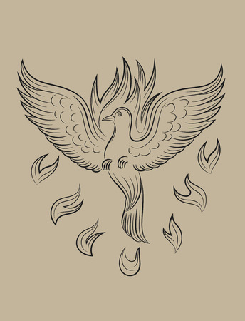 holy  symbol: Dove fuego Holyspirit, dibujo boceto de arte vectorial
