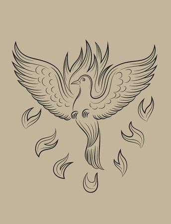 holy spirit: Dove Holyspirit fire, art vector sketch drawing